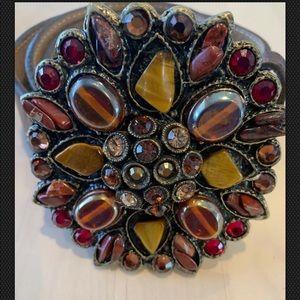 LEATHEROCK Brown Leather belt rhinestone buckle